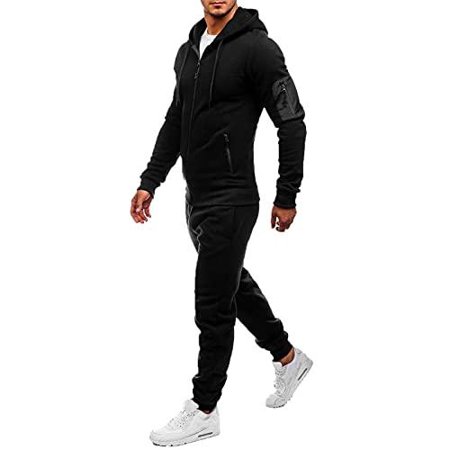 Conjunto de chándal hombre 2 Piezas sudadera hombre capucha cremallera + pantalón hombre casual jogger para Otoño Invierno Inicio, Trabajo