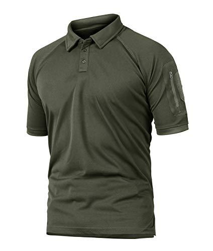 KEFITEVD Bundeswehr T-Shirt Herren Kurzarm Sommer Leicht T-Shirt mit Knopfleiste Casual Freizeitshirt Männer Sport Fitness Poloshirt Dunkeloliv L