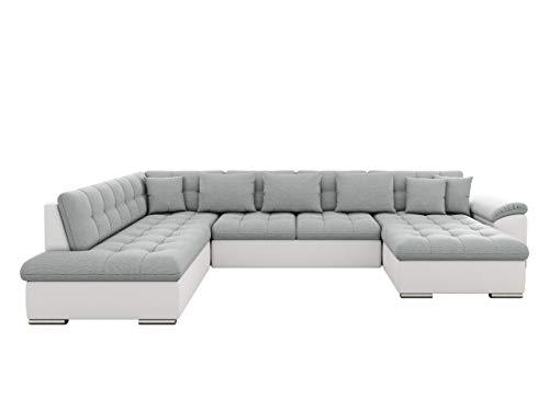 Eckcouch Ecksofa Niko! Design Sofa Couch! mit Schlaffunktion! U-Sofa Große Farbauswahl! Wohnlandschaft! (Ecksofa Rechts, Soft 017 + Bahama 31)