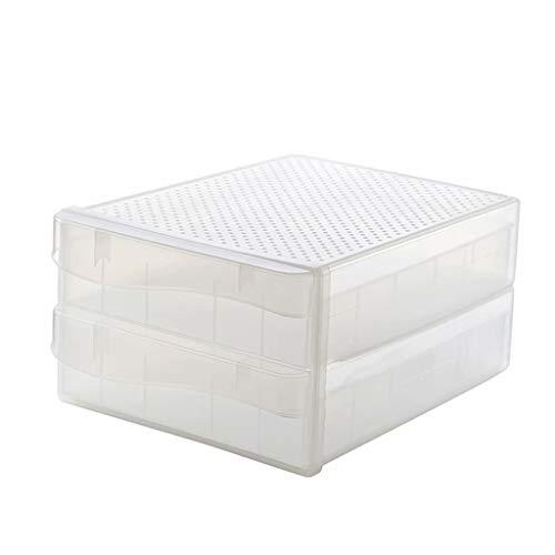 Refrigerador Cajas de almacenamiento de alimentos Organizador Caja fresca Tipo de cajón Caja de almacenamiento de cartón de huevos Soporte para huevos Accesorios de cocina apilables, doble capa, 34cm