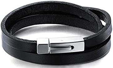 Fashion Braided Black Leather Bracelet for Men Bangle Wrap 7.5-8.5 Inch Vintage Leather Wrist Band Rope Bracelets