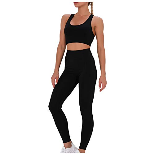 Damen Sport Set Fitness Yoga Damen Hosen und Sport Crop Top Sport Bekleidungssets Yoga Outfit Sporthose Trainingsanzug Sportanzug Gym Set Sport Leggings FitnessHose 2 Teile Sporthose mit Sport BH