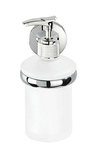 WENKO Seifenspender Cuba Glänzend - Flüssigseifen-Spender, Spülmittel-Spender Fassungsvermögen: 0.18 l, Zinkdruckguss, 7 x 17 x 11.5 cm, Chrom