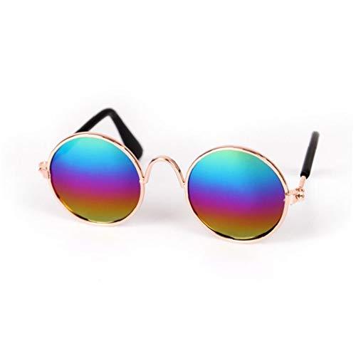 Screst Pet Gafas de Sol Retro Gafas de Sol Circulares de Metal clásico para Gato, Chihuahua o Perros pequeños (Multicolor) 1 Pc
