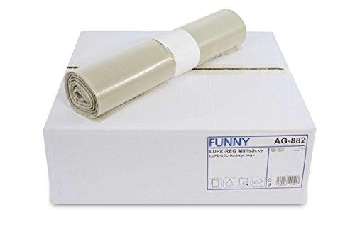 Funny LDPE-Regenerat Müllsäcke, transparent, gerollt, 120 l, Typ 60, 1er Pack (1 x 250 Stück)