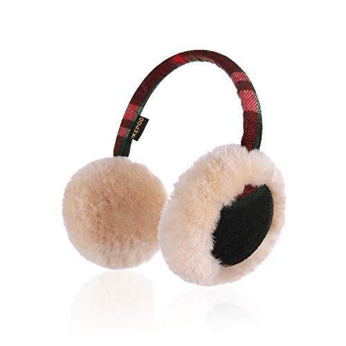 IKEPOD Australisch Schaffell Wolle Ohrenschützer - Gemütlich Unisex Ohr Ohrenwärmer Ohrwärmer, hält die Ohren warm im Winter für Mädchen und Junge