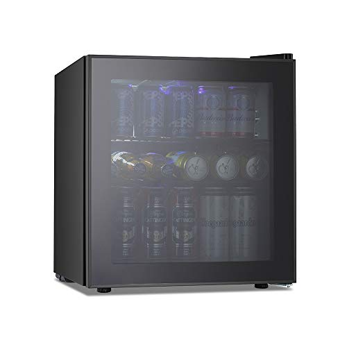 Kismile Beverage Refrigerator and Cooler,60 Can 1.6 Cu.ft Mini Fridge with Glass Door for Soda Beer or Wine,Small Drink Cooler Dispenser Counter Top Refrigerator for Home,Office,or Bar (Black)