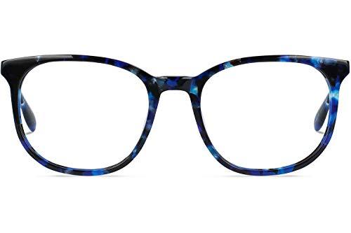 Brille mit wählbare Sehstärke (inkl. Zylinder)   Harper   Quadratische Brille aus Italienischen Acetat   Blau   Charlie Temple