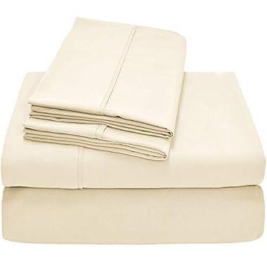 Bare Home Premium 1800 Ultra-Soft Microfiber Collection Sheet Set - Double Brushed - Hypoallergenic - Wrinkle Resistant - Deep Pocket (King, Light Ivory)