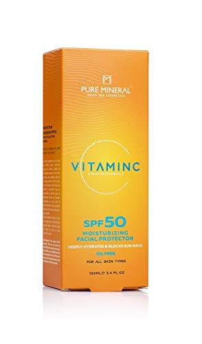 Crema Facial De Vitamina C Mineral Pura SPF 50 Con Minerales Del Mar Muerto Hidrata Profundamente y Protege La Piel