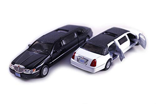 HCK Set of 2 1999 Lincoln Limo - Pull Back Toy Cars 1:38 Scale (Black/White)