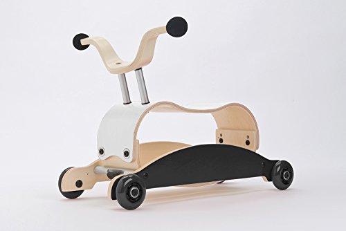 Unbekannt Wishbone Mini FLIP Mix & Match 3in1 - Laufwagen + Rutschauto + Schaukel in Farbe: Top weiß + Base schwarz + Räder schwarz