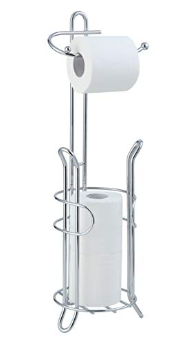 SunnyPoint Bathroom Toilet Tissue Paper Roll Storage Holder Stand with Reserve, The Reserve Area Has Enough Space to Store Mega Rolls; Chrome Finish