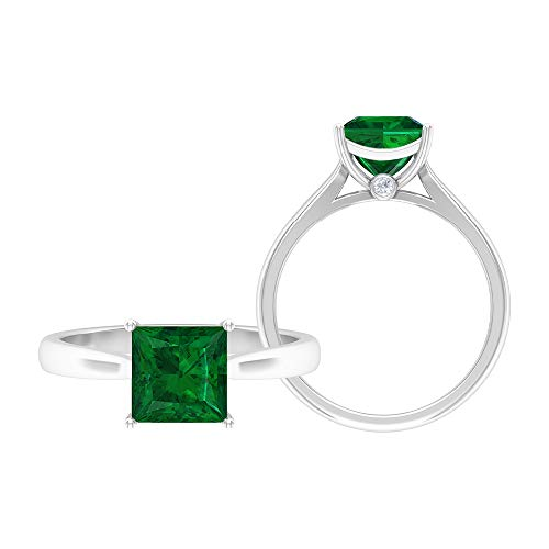 Anillo solitario de corte princesa de 7 mm, anillo de moissanita D-VSSI, anillo de compromiso de oro blanco de 14 quilates verde