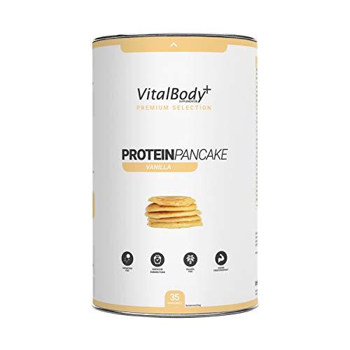 VitalBody+ Protein-Pancake, 35 Portionen Pancakes Vanille, zuckerarm und fettarm, Eiweiß Pfannkuchen Mix zum abnehmen & Muskelaufbau, Backmischung schnell zubereitet - Deutsche Premium Qualität