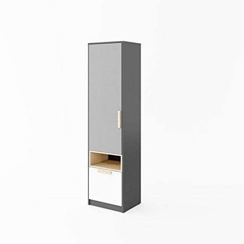 Furniture24 Schrank POK P03, 1 Türiger Drehtürenschrank mit 5 Einlegeböden und Schublade, Hochschrank, Universal Schrank für Jugendzimmer