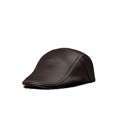 gorro de invierno Sombrero de boina de cuero vintage para hombre Gorra plana Sombrero de pico Vendedor de periódicos Estiramiento gorra plana tradicional para hombre ( Color : Coffe , Size : XXL )