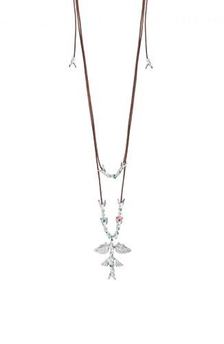 UNO de 50 COL1141MCLMTL0U - Collar Doble Qúe Profundo para Mujer, con cordón de Cuero marrón y Piezas con Formas de pez.