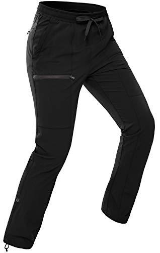 Vzteek Pantalones de senderismo para mujer con cierre de cordón ajustable - negro - Large
