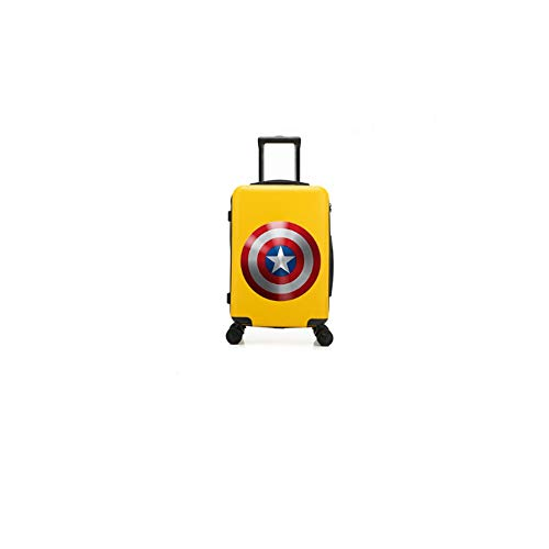 QUAN Usted Maleta con Ruedas para niños - Maleta con patrón de Dibujos Animados para niños Capitán América Amarillo Equipaje/Equipaje Funcional/Remolque/baúl