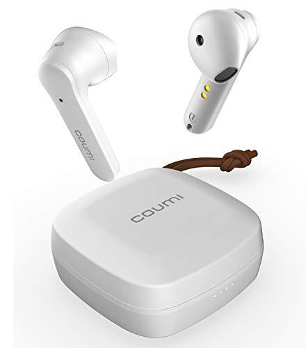Kabellose Kopfhörer, Kopfhörer Bluetooth 5.0 Touch-Steuerung mit Ladehülle, IPX7 wasserdicht, 27 Stunden Spielzeit, Bluetooth Kopfhörer in Ear, integriertes Mikrofon, für Android und iOS (Weiß)
