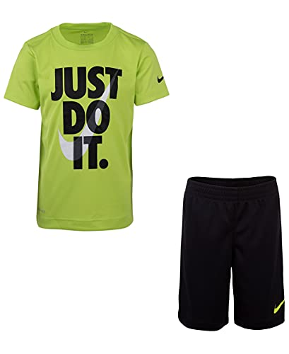 Nike Baby Boy's Short Sleeve Just Do It T-Shirt & Shorts Two-Piece Set (Toddler) Black/Cyber 2T Toddler
