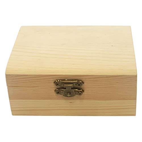 Todo menaje Caja de Madera con Tapa Forma de baúl, caja decorativa para guardar objetos pequeños