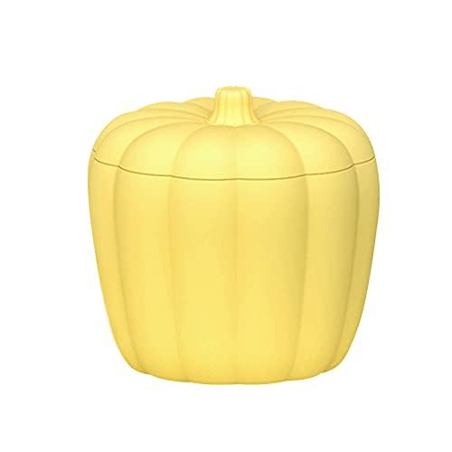 BHSHUXI Cubo de hielo de calabaza de silicona,Calabaza tipo fabricante de hielo de silicona,Cubo de hielo con tapa de diseño de doble capa,Amarillo