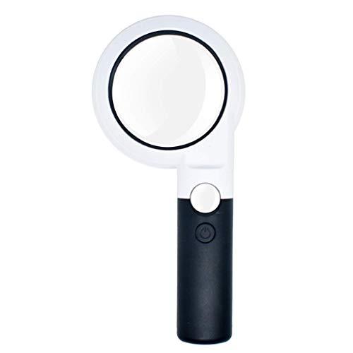 Gloednieuw, hoge kwaliteit 5X 20X handheld verlichtingsvergrootglas met 11 LED-licht HD-lens voor het lezen van boeken, sieraden, identificatie, klok, DIY handwerk, graveren en repareren, ABS-vergrootglas, draagbaar