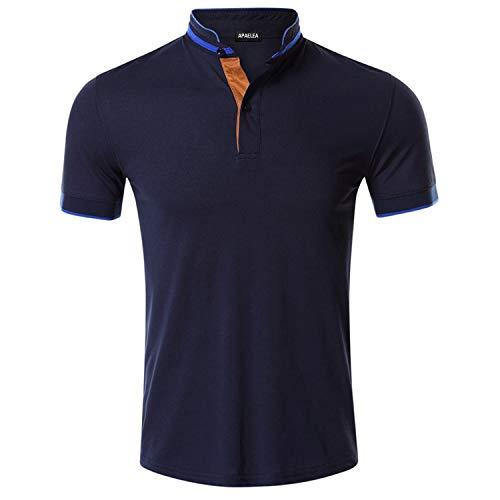 APAELEA Polo Uomo Manica Corta Henley Contrasto Placket Stand Collo Camicie da Golf,Blu,L