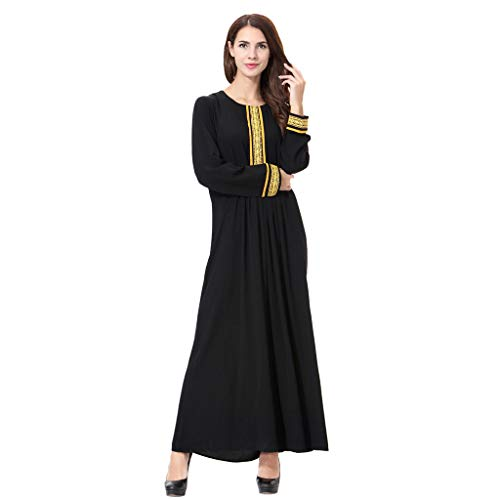 Women Fashion Muslim Islamic Middle East Ethnic Ramadan Print Long Sleeve Dress Elegant Breathable Lightweight Linen Dress (L, Gold)