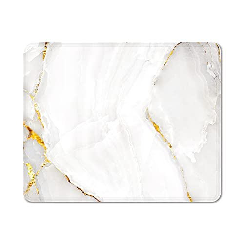 Eranova Mouse Pad with Stitched Edges, Gold Marble Mouse Mat Non-Slip Rubber Base Mousepad for PC Laptop Office Home Working, 10.2x8.3x0.12 inches