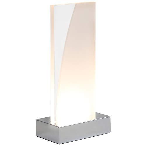 Briloner Leuchten Tavolo, Lampada da Comodino con Interruttore a Filo, Scheda LED Rettangolare in Design Bianco/Trasparente, 3 Watt, 230 Lumen 3 W, Cromato, 100x60x205mm (LxBxH)
