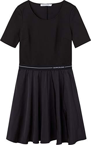 Calvin Klein Jeans Damen Logo Elastic Dress Kleid, Ck Black/Ck Black, XS
