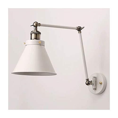TASGK Wandlamp, vintage, binnen, wandlamp, verstelbaar, van metaal, zwart, retro, industriële stijl, landelijke sfeer, kantoor, werklamp, leeslamp, 180 graden draaibaar, 2 kleuren verkrijgbaar
