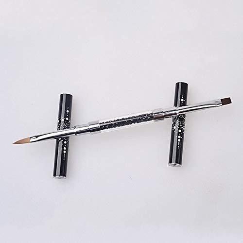 WATERMELON 1pcs Brosse à Ongles for Les détails Striping Nail Art Gel avec balais, Double terminé Brosse 3D, Brosse Acrylique for Designs Nail Art (Color : 3 Black)