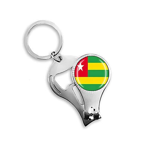 Togo Flaggen-Bierflaschenöffner, Nagelknipser, Metall, Glas, Kristall, Schlüsselanhänger, Reise-Souvenir, Geschenk, Schlüsselanhänger Zubehör