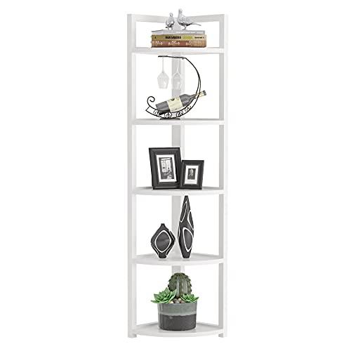 Tribesigns 5 Tier Corner Shelf, Modern Corner Bookshelf Small Bookcase Storage Rack Plant Stand for Living Room, Home Office, Kitchen, Small Space (White)