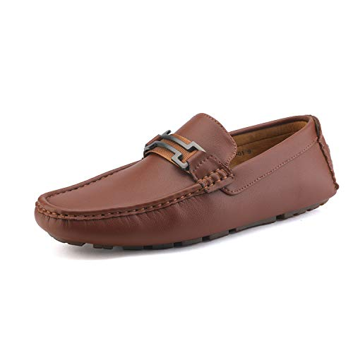 Bruno Marc Men's Hugh-01 Brown Faux Leather Driving Penny Loafers Shoes Size 10 M US