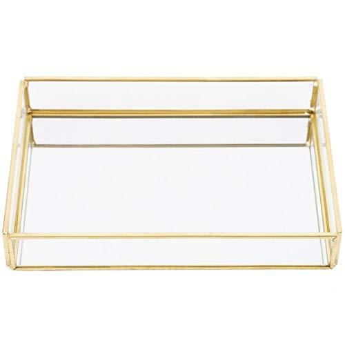 Gouen Vintage metalen glazen opbergdoos Gouden dienblad Sieraden Cosmetica Display Dozen Cosmetica Opberglade Keuken Organizer, M