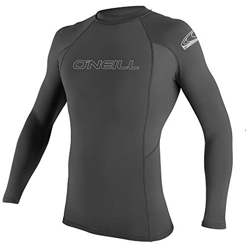 O'Neill Wetsuits Men's Basic Skins L/S Rash Guard Vest, Graphite, S