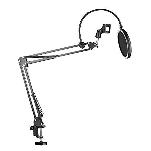 YWT Zwarte Microfoon Suspension Arm Schaar Arm Beugel met Microfoon Houder en Filter Desktop Montage Fixture, Zwart, voor Muziek Uitzenden