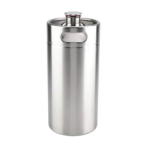 Barril de cerveza de acero inoxidable, 4L Mini práctico doble manija Barril de cerveza con tapa en espiral, Durable y resistente a la corrosión Adecuado para suministros de hotel en casa