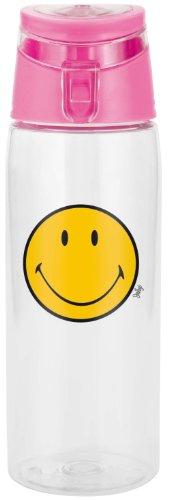 Zak Designs SMILEY Trinkflasche, transparent/ fuchsia, 75 cl