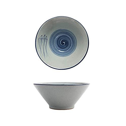 """YWYW Tazón grande de fideos pintado a mano 8/9 """"Ramen Bowl Porcelana Tazones Japonés Vajilla Udon Fideos Bowl Grande Grueso Fideos Bowl Gris 8"""""""