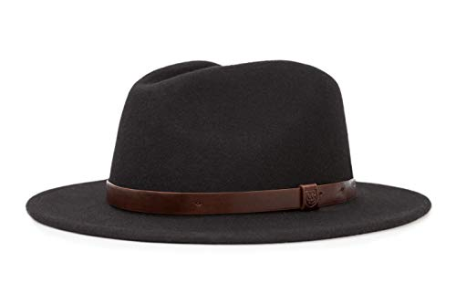 Brixton Men's Messer Medium Brim Felt Fedora Hat, black, X-Large