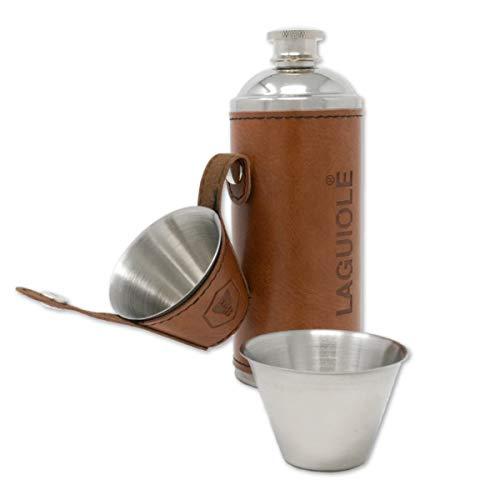 Laguiole Flachmann met 2 glazen, roestvrij staal, leer, bruin, geschenkdoos, Kerstmis, verjaardag, 235 ml, ideaal voor…