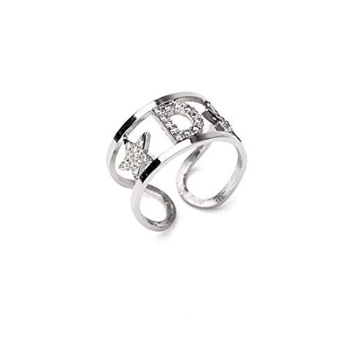 Remo Gammella - Anillo de plata 925 % de estrella, con circonitas blancas de corte diamante, talla ajustable