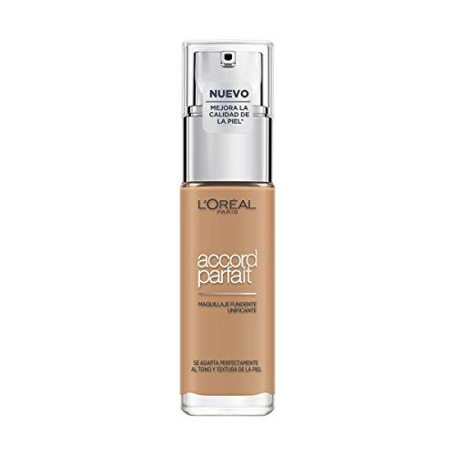 L'Oréal Paris Accord Parfait, Base de maquillaje acabado natural con ácido hialurónico, tono piel medio-oscuro 7D, 30 ml