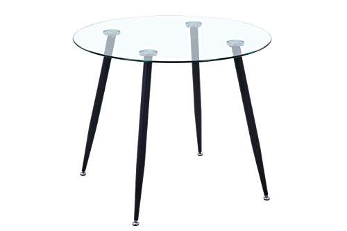 GOLDFAN Moderno Mesa de Comedor para 4 Redondo Dos Tonos Vidrio Mesa de Cocina para Comedor, Ø 80 x 75 (Negro)